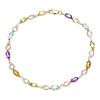 9ct Yellow Gold Multi Gemstone and Diamond Set Bracelet