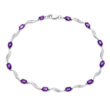 Load image into Gallery viewer, 9ct White Gold Amethyst and Diamond Wave Link Bracelet