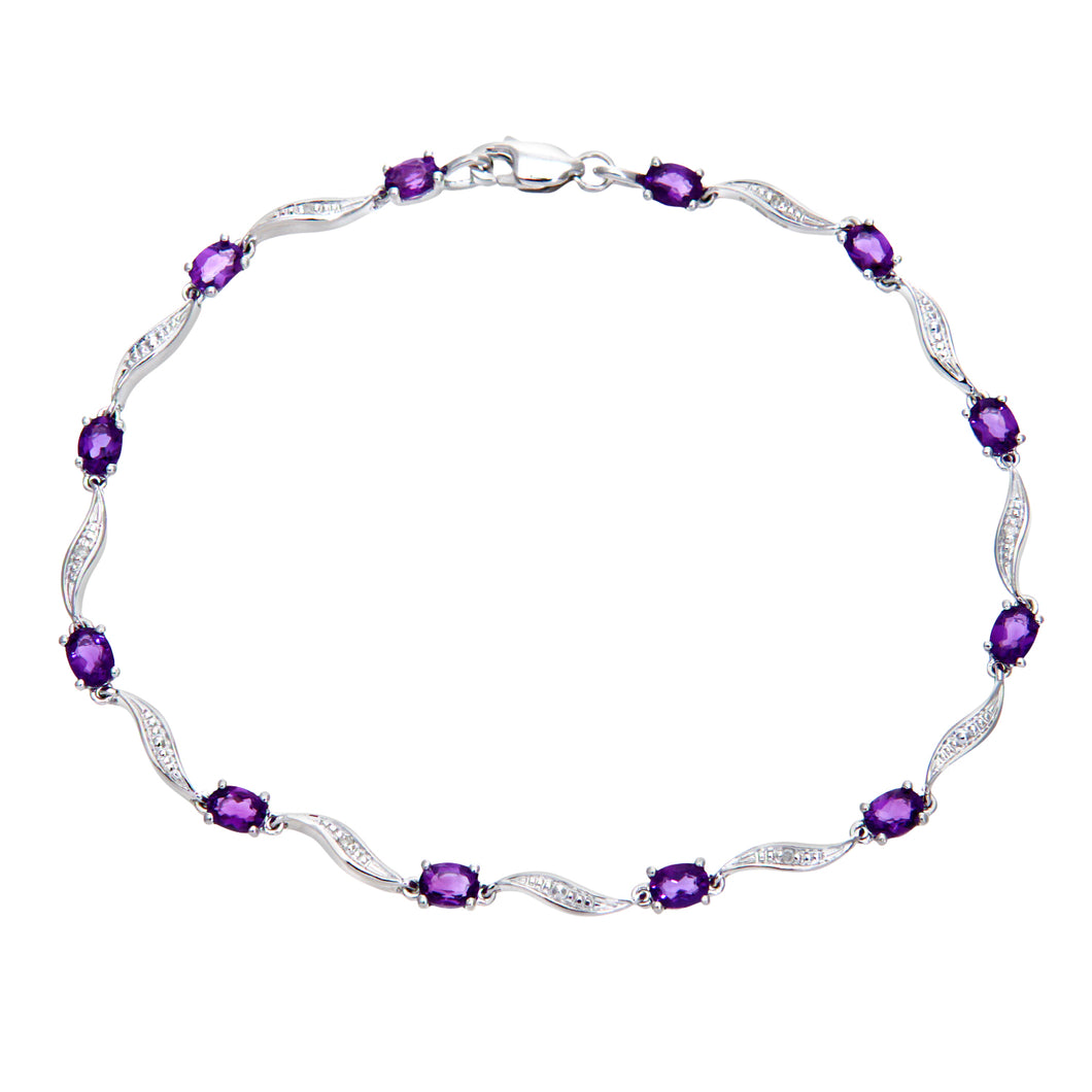 9ct White Gold Amethyst and Diamond Wave Link Bracelet