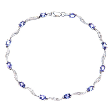 9ct White Gold Tanzanite Wave Bracelet with Diamond