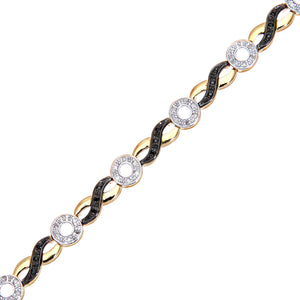 9ct Yellow Gold Black Diamond Round and Crossover Link Bracelet