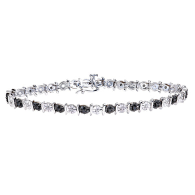 9ct White Gold Black Diamond Tennis Bracelet