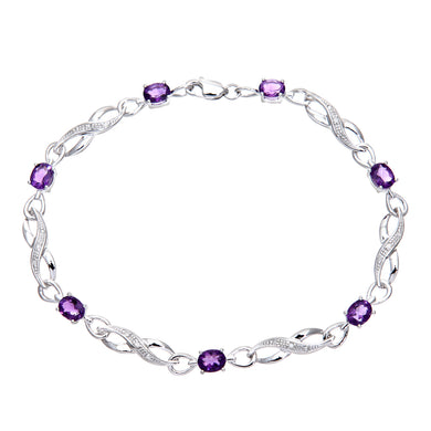 9ct White Gold Amethyst and Diamond Crossover Link Bracelet