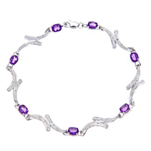 Load image into Gallery viewer, 9ct White Gold Amethyst and Diamond Swirl Link Bracelet