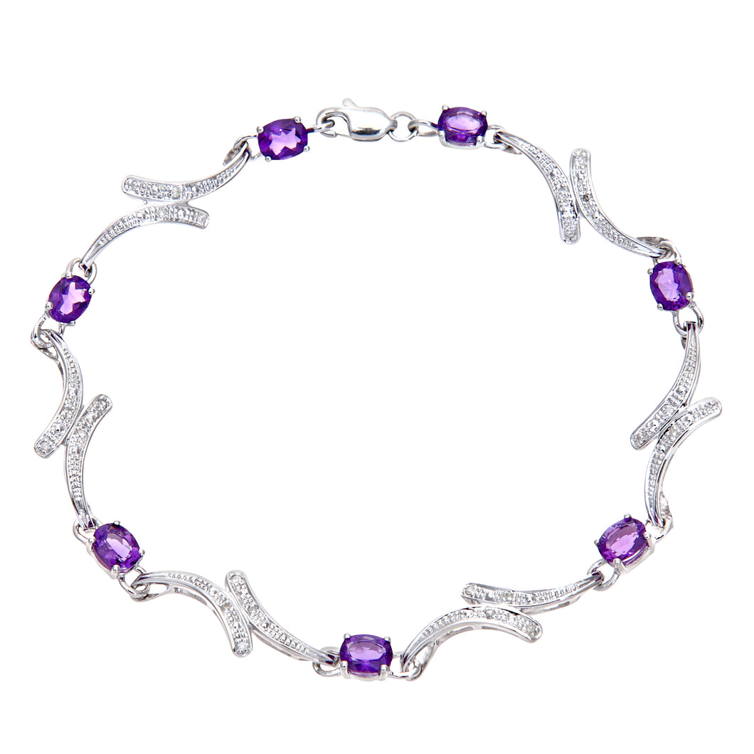 9ct White Gold Amethyst and Diamond Swirl Link Bracelet