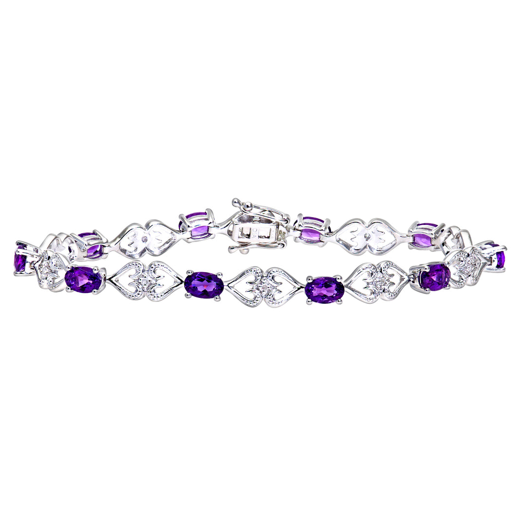 9ct White Gold Amethyst and Diamond Set Hearts Link Bracelet