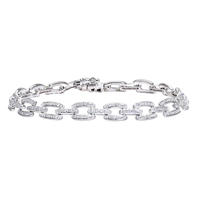9ct White Gold 0.10ct Pave Set Diamond Bar Link Bracelet