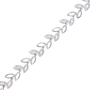 9ct White Gold 0.25ct Diamond Pave Set Oval Link Bracelet