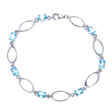 9ct White Gold Sapphire and Diamond Oval Link Bracelet