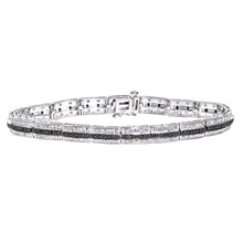 Load image into Gallery viewer, 9ct White Gold Black Diamond 3 Row Link Bracelet