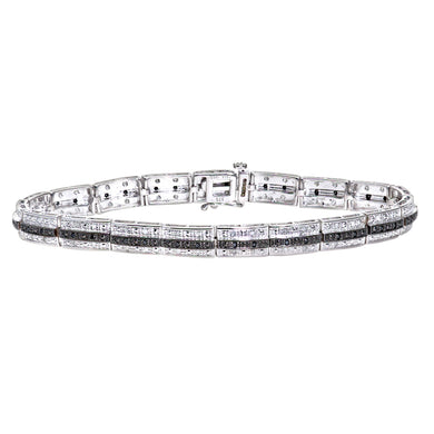9ct White Gold Black Diamond 3 Row Link Bracelet
