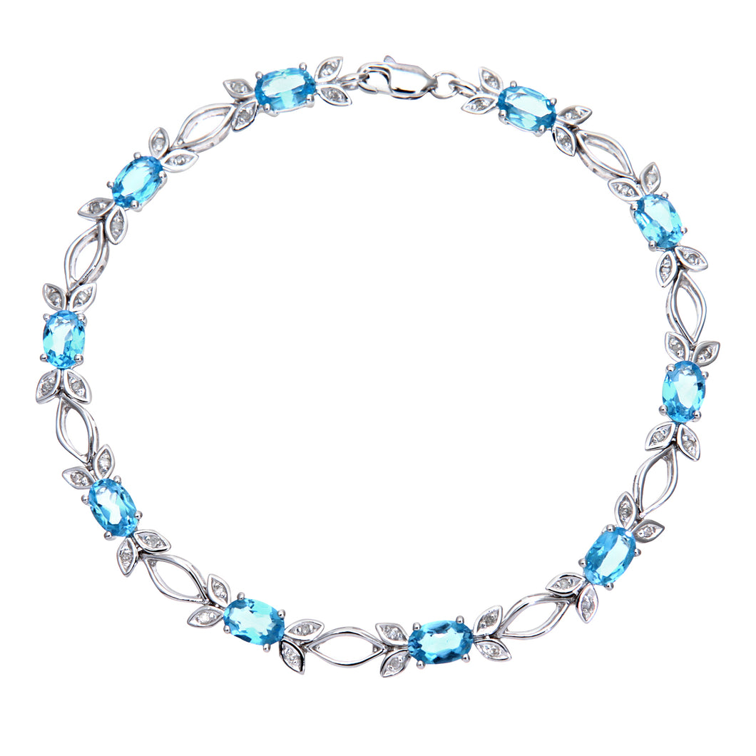 9ct White Gold Blue Topaz and Diamond Bow Bracelet