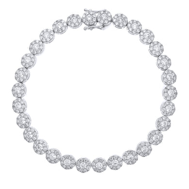 18ct White Gold Spectacular Halo Set Diamond Certified G/SI1 Round Tennis Bracelet of 18.5 cm