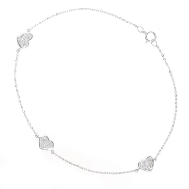 9ct White Gold Diamond Hearts Bracelet of Length 18.5cm