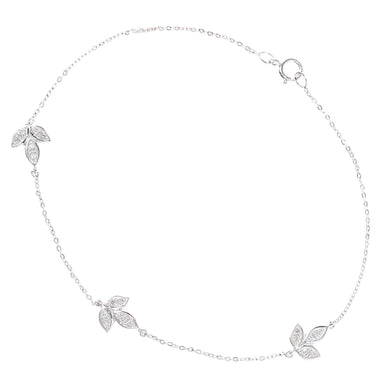 9ct White Gold Diamond Leaf Design Bracelet of Length 18.5cm