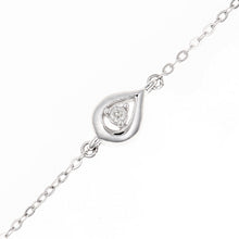 Load image into Gallery viewer, 9ct White Gold Diamond Teardrop Link Design Bracelet of Length 18.5cm