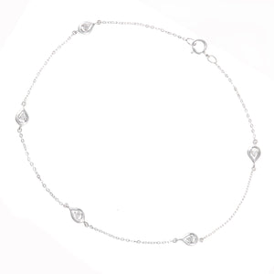9ct White Gold Diamond Teardrop Link Design Bracelet of Length 18.5cm