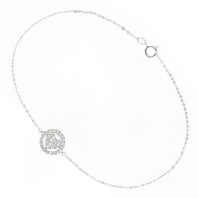 9ct White Gold Diamond Heart in Circle Bracelet of Length 18.5cm