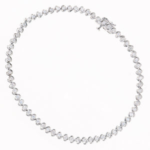 9ct White Gold Total 1.00ct Diamond S Line Design Tennis Bracelet of Length 18.2cm