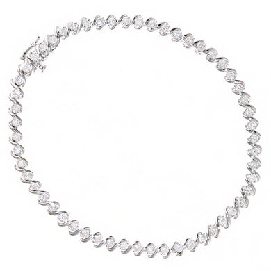 9ct White Gold Total 2.00ct Diamond Tennis Bracelet of Length 18.2cm
