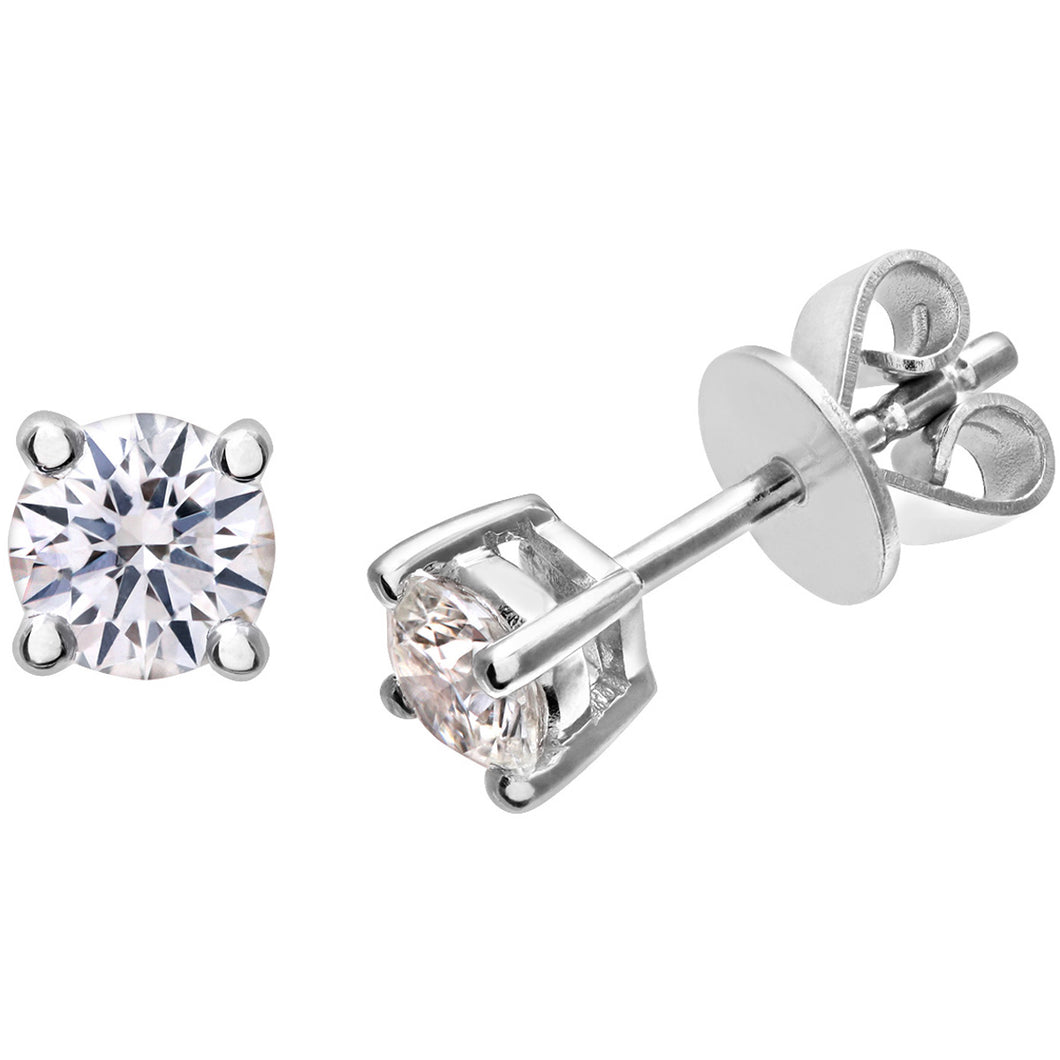 Diamond Stud Earrings, 18ct White Gold H/SI Round Brilliant Certified Diamond Earrings, 0.50ct Diamond Weight