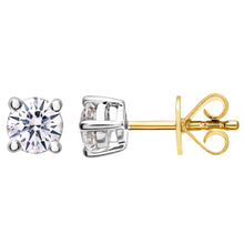Load image into Gallery viewer, Diamond Stud Earrings, 18ct Yellow Gold H/SI Round Brilliant Certified Diamond Earrings, 0.50ct Diamond Weight