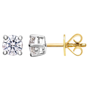 Diamond Stud Earrings, 18ct Yellow Gold H/SI Round Brilliant Certified Diamond Earrings, 0.50ct Diamond Weight