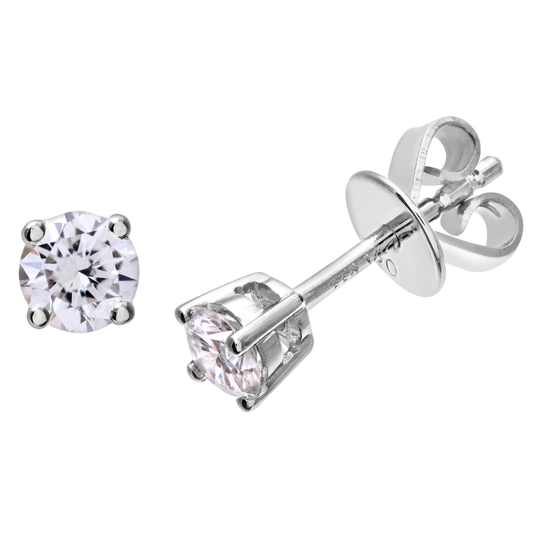Diamond Stud Earrings, 18ct White Gold H/SI Round Brilliant Certified Diamond Earrings, 0.33ct Diamond Weight