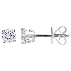 Diamond Stud Earrings, 18ct White Gold IJ/I Round Brilliant Certified Diamond Earrings, 0.33ct Diamond Weight