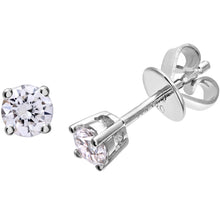 Load image into Gallery viewer, Diamond Stud Earrings, 18ct White Gold IJ/I Round Brilliant Certified Diamond Earrings, 0.33ct Diamond Weight