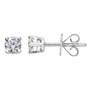 Diamond Stud Earrings, 18ct White Gold IJ/I Round Brilliant Certified Diamond Earrings, 0.25ct Diamond Weight