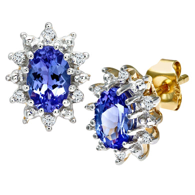 9ct Yellow Gold Tanzanite and Diamond Cluster Earring