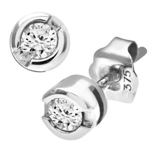 Load image into Gallery viewer, 9ct White Gold Rub Set 0.15ct Diamond Earrings