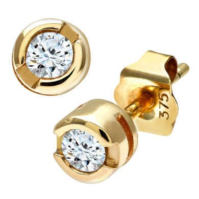 9ct Yellow Gold Rub Set 0.15ct Diamond Earrings
