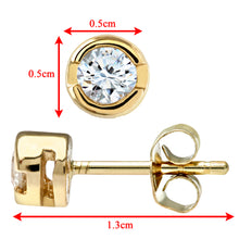 Load image into Gallery viewer, 9ct Yellow Gold Rub Set Quarter Carat Diamond Earrings