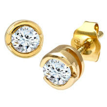 Load image into Gallery viewer, 9ct Yellow Gold Rub Set Third Carat Diamond Earrings