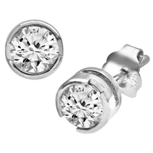 Load image into Gallery viewer, 9ct White Gold Rub Set Half Carat Diamond Earrings