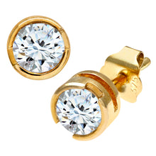 Load image into Gallery viewer, 9ct Yellow Gold Rub Set Half Carat Diamond Earrings