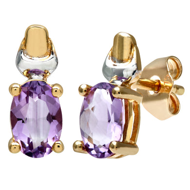 9ct Yellow and White Gold Ladies Amethyst Birth Stone Earrings