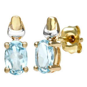 9ct Yellow and White Gold Ladies Blue Topaz Birth Stone Earrings
