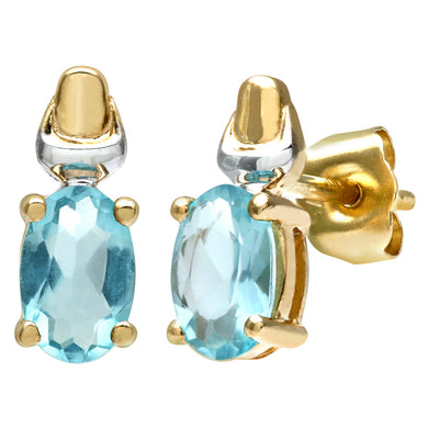 9ct Yellow and White Gold Ladies Cubic Zirconia Created Aquamarine  Birth Stone Earrings
