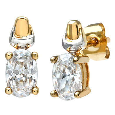 9ct Yellow and White Gold Ladies Cubic Zirconia  Birth Stone Earrings