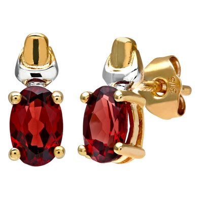 9ct Yellow and White Gold Ladies Garnet Birth Stone Earrings