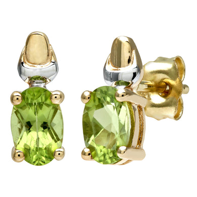 9ct Yellow and White Gold Ladies Peridot Birth Stone Earrings