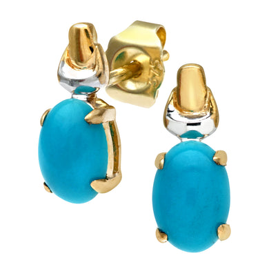 9ct Yellow and White Gold Ladies Turquoise Birth Stone Earrings