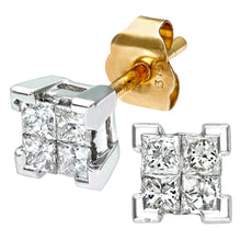 Load image into Gallery viewer,  Ladies 9ct Yellow Gold 0.33ct Princess Cut Diamond Earrings