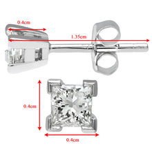 Load image into Gallery viewer,  Ladies 9ct White Gold 0.33ct Princess Cut Diamond Solitare Earrings