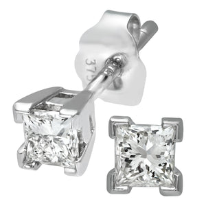 Ladies 9ct White Gold 0.33ct Princess Cut Diamond Solitare Earrings