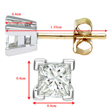 Load image into Gallery viewer,  Ladies 9ct Yellow and White Gold 0.50ct Princess Cut Diamond Solitare Earrings