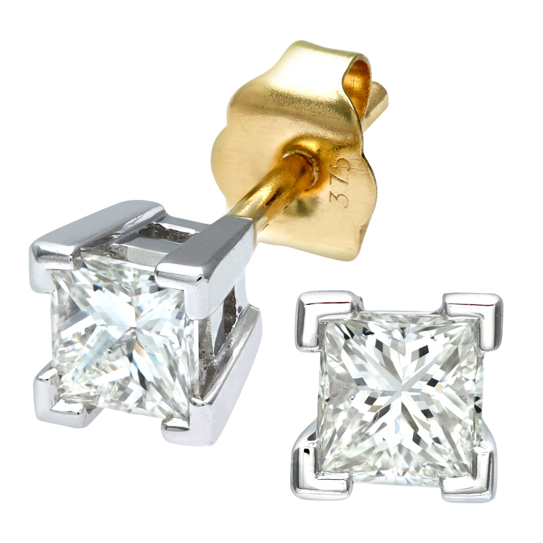 Ladies 9ct Yellow and White Gold 0.50ct Princess Cut Diamond Solitare Earrings